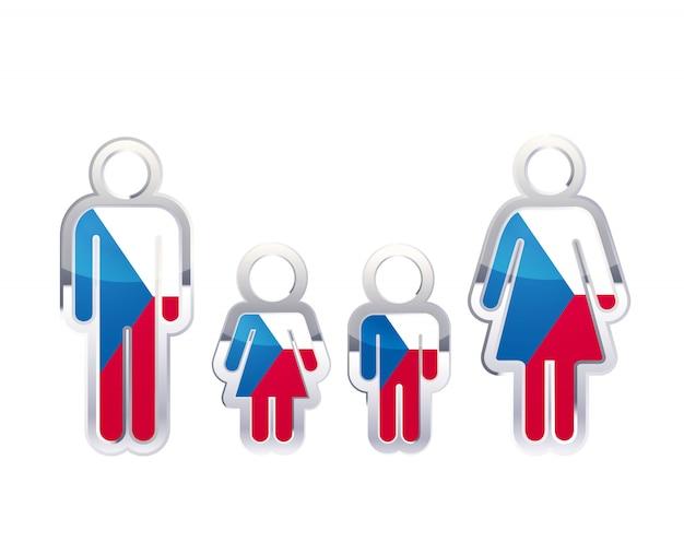 Icona lucida del distintivo del metallo nelle forme dell'uomo, della donna e dei bambini con la bandiera della repubblica ceca, elemento infographic su bianco