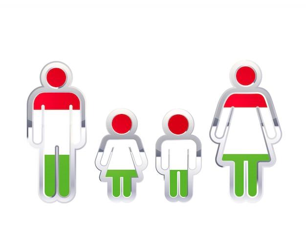 Icona lucida del distintivo del metallo nelle forme dell'uomo, della donna e dei bambini con la bandiera dell'ungheria, elemento infographic isolato su bianco