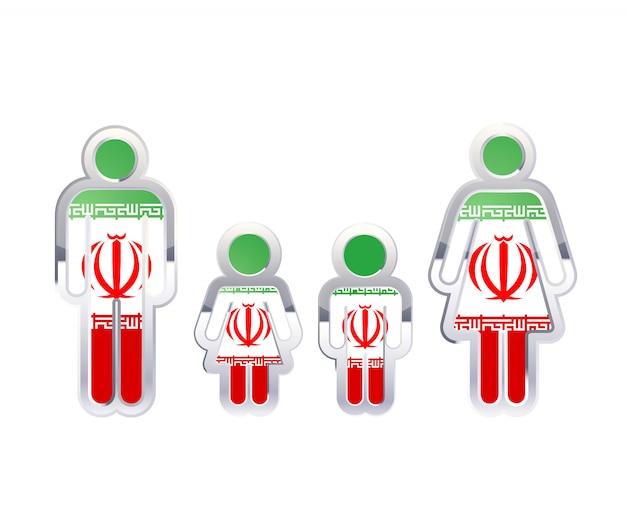 Icona lucida del distintivo del metallo nelle forme dell'uomo, della donna e dei bambini con la bandiera dell'iran, elemento infographic isolato su bianco