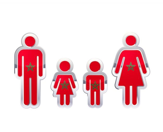 Icona lucida del distintivo del metallo nelle forme dell'uomo, della donna e dei bambini con la bandiera del marocco, elemento infographic su bianco