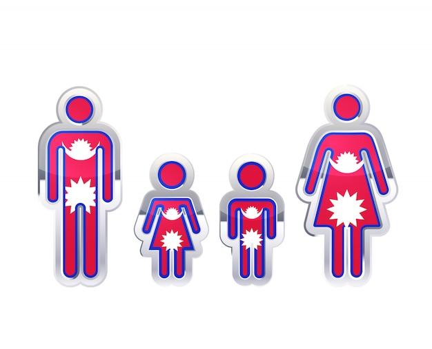 Icona lucida del distintivo del metallo nelle forme dell'uomo, della donna e dei bambini con la bandiera del nepal, elemento infographic su bianco