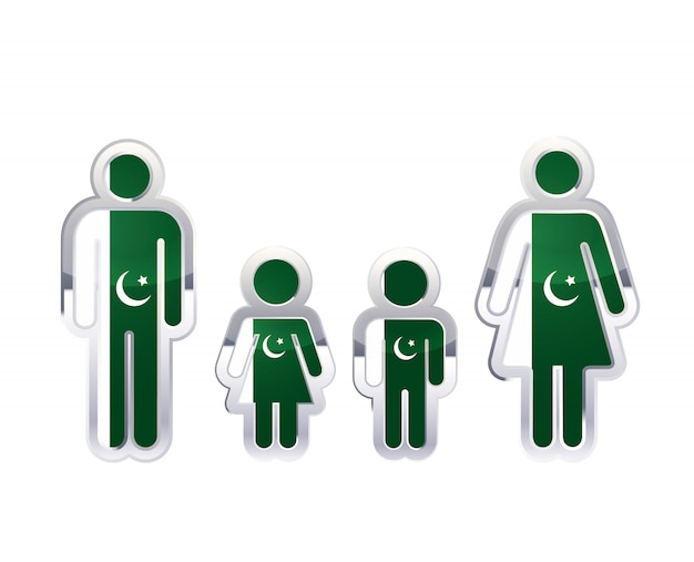 Icona lucida del distintivo del metallo nelle forme dell'uomo, della donna e dei bambini con la bandiera del pakistan, elemento infographic su bianco