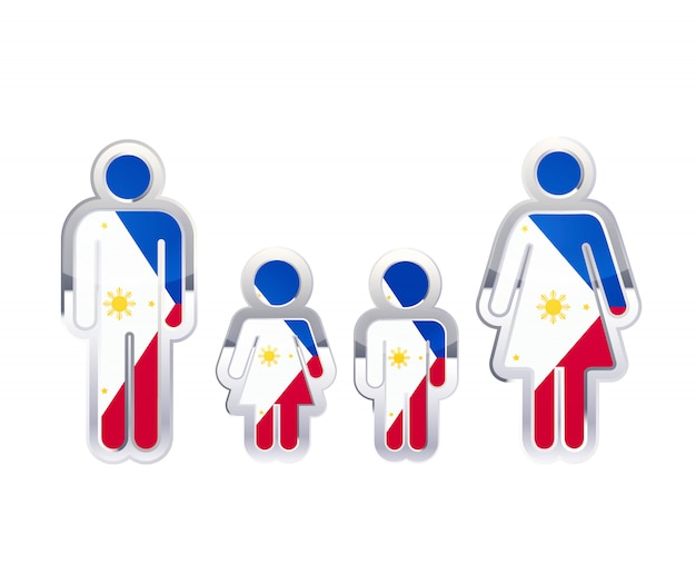 Icona lucida del distintivo del metallo nelle forme dell'uomo, della donna e dei bambini con la bandiera delle filippine, elemento infographic su bianco