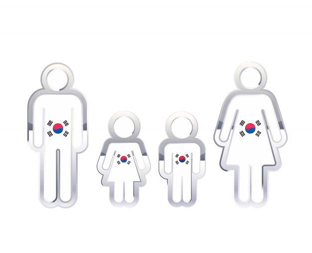 Icona lucida del distintivo del metallo nelle forme dell'uomo, della donna e dei bambini con la bandiera della corea del sud, elemento infographic su bianco