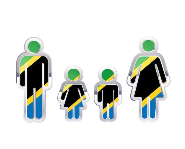 Icona lucida del distintivo del metallo nelle forme dell'uomo, della donna e dei bambini con la bandiera della tanzania, elemento infographic su bianco