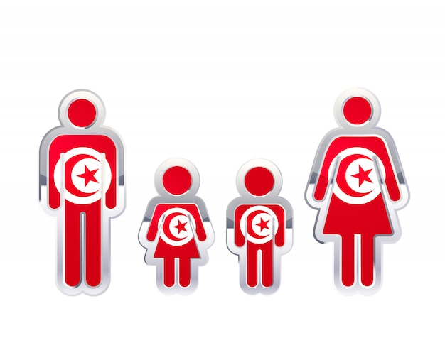 Icona lucida del distintivo del metallo nelle forme dell'uomo, della donna e dei bambini con la bandiera della tunisia, elemento infographic su bianco
