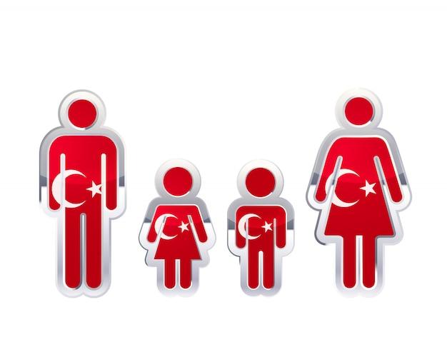 Icona lucida del distintivo del metallo nelle forme dell'uomo, della donna e dei bambini con la bandiera della turchia, elemento infographic su bianco