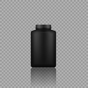 Mockup di imballaggi in plastica lucida d design flacone di barattolo di plastica nera con proteine del siero di latte e guadagno di massa