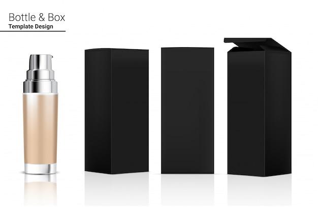 Bottiglia di pompa lucida cosmetico realistico e scatola tridimensionale per sbiancamento della cura della pelle e invecchiamento merce antirughe