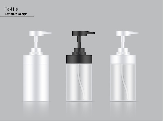 Bottiglia di pompa lucida cosmetico realistico trasparente, bianco e nero