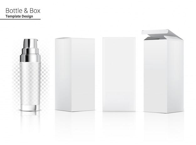 Pompa lucida bottiglia trasparente cosmetico realistico e scatola tridimensionale per lo sbiancamento della cura della pelle e l'invecchiamento della merce antirughe