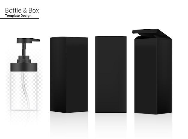 Bottiglia trasparente pompa lucida cosmetico realistico e scatola dimensionale per lo sbiancamento della cura della pelle e l'invecchiamento merce antirughe su sfondo bianco illustrazione. assistenza sanitaria e medica. Vettore Premium