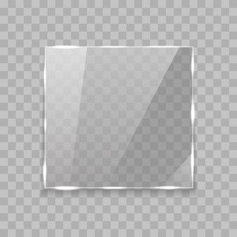 Banner di vetro rettangolo lucido con luci