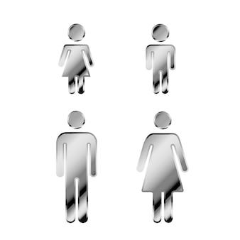 Uomo e donna in metallo argento lucido lucido con simboli di ragazzo e ragazza, set di icone di famiglia