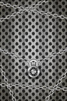 Catene di metallo argento lucido con lucchetto a codice tondo su griglia tonda in metallo, fondo industriale verticale