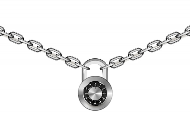 Catene di metallo argento lucido con lucchetto con codice tondo su bianco