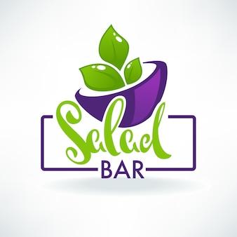 Simbolo lucido logo cucina sana e simboli di alimenti biologici per il tuo buffet di insalate o menu vegano