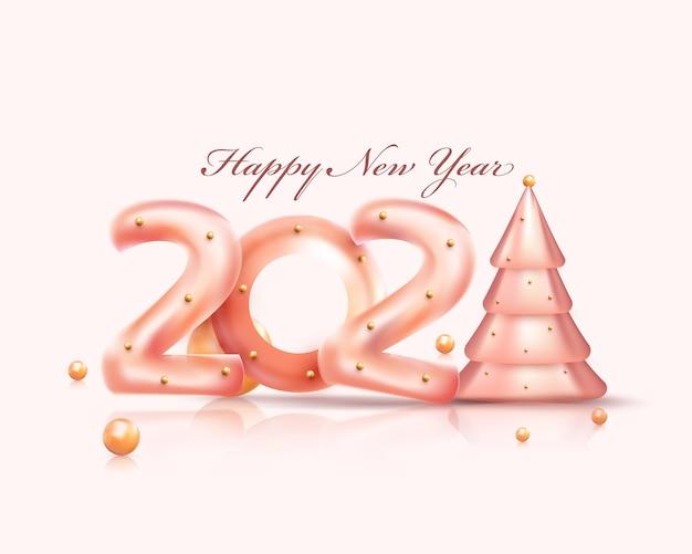 Testo lucido con albero di natale e palle d'oro o perle su sfondo bianco per un felice anno nuovo.