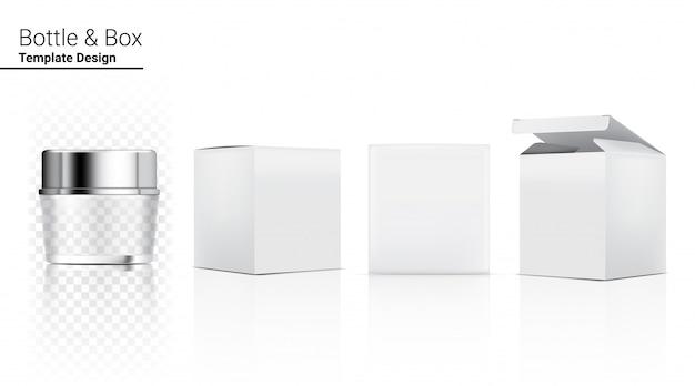 Bottiglia di barattolo trasparente lucido cosmetico realistico e scatola tridimensionale per sbiancamento della cura della pelle e invecchiamento merce antirughe