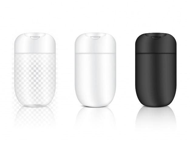 Tubo lucido bottiglia trasparente cosmetico realistico per prodotti disinfettanti per la cura della pelle e l'invecchiamento