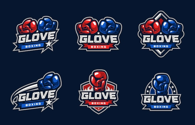Logo sportivo di guanto di pugilato
