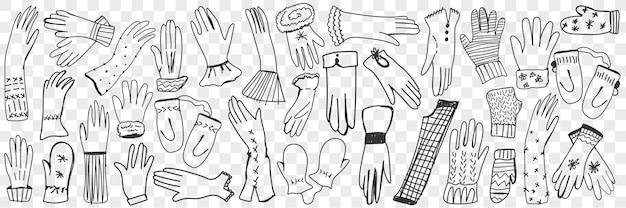 Guanti e muffole doodle insieme.