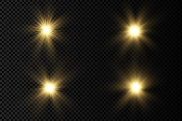 Bagliore luminoso stella luce incandescente scoppio raggi di sole giallo bagliore di sole