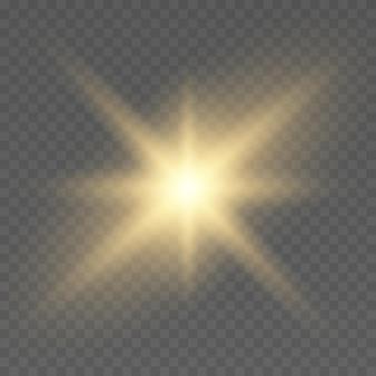 Effetto bagliore stella d'oro su sfondo trasparente sole luminoso