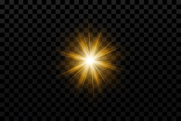 Effetto bagliore stella d'oro su trasparente