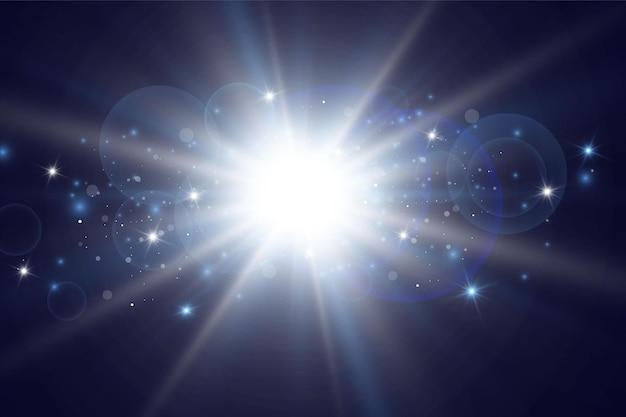 Effetto bagliore. illustrazione di stelle o sole splendente.
