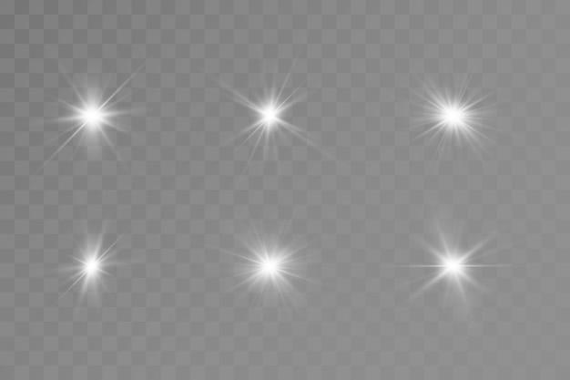 Effetto bagliore. stella. sole splendente. illustrazione.
