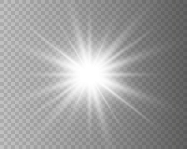 Effetto bagliore. la stella scoppiò di brillantezza. illustrazione