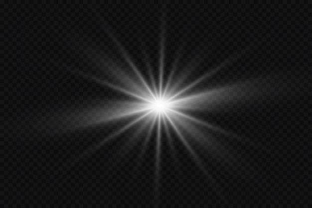 Effetto bagliore la stella brilla su trasparente