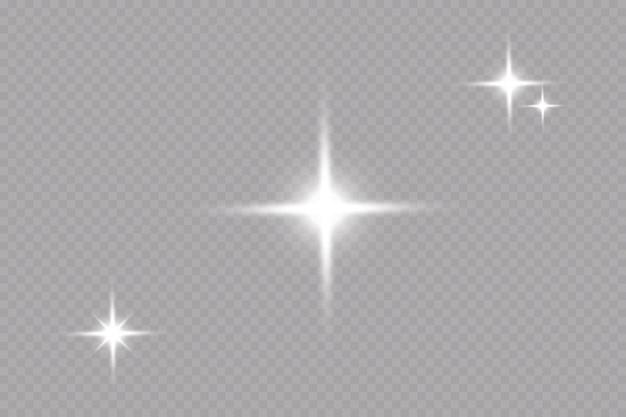 Effetto bagliore stella su sfondo trasparente sole luminoso illustrazione vettoriale