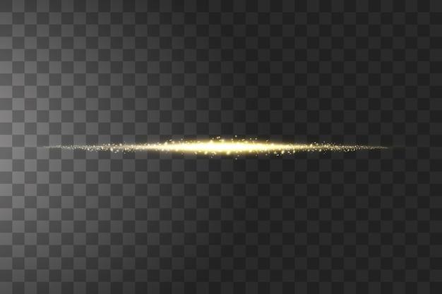 Effetto trasparente dorato isolato bagliore, riflesso lente, esplosione, glitter, linea, flash solare, scintilla e stelle.