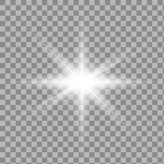 Set di effetti di luce trasparente bianco isolato bagliore, riflesso lente, esplosione, glitter, linea, flash del sole, scintilla e stelle.