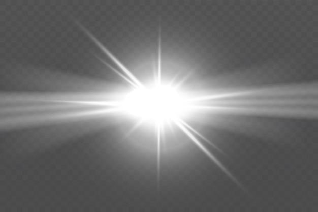 Bagliore isolato bianco trasparente effetto luce set lens flare esplosione glitter line sun