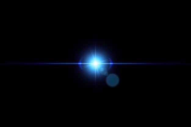 Effetto luce bagliore scoppiato con scintillii isolati su sfondo nero