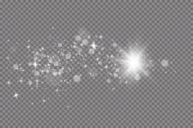 Effetto luce bagliore. illustrazione. flash di natale. polvere, neve che cade. decorazione.