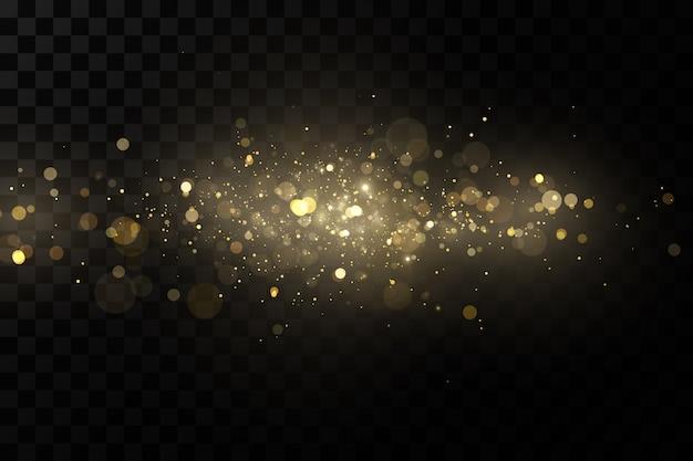 Effetto luce bagliore particelle di polvere magiche scintillanti le scintille di polvere e le stelle dorate brillano.