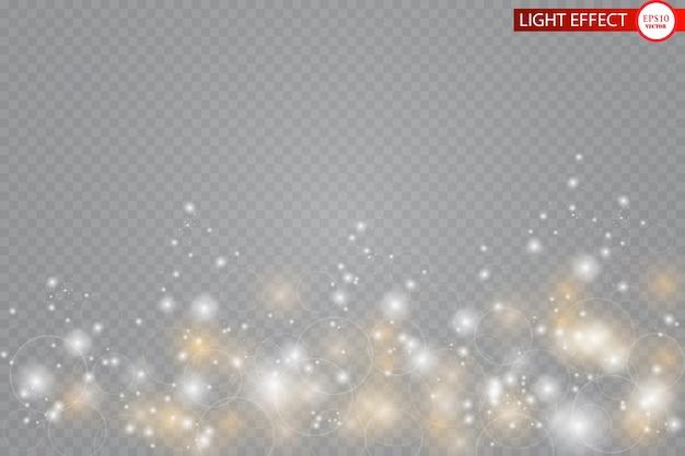 Effetto luce bagliore. particelle scintillanti di stelle di polvere di fata