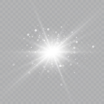 Effetto luce bagliore. la stella è esplosa di scintillii sole. illustrazione