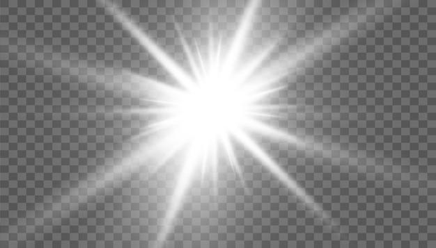 Effetto luce bagliore. stella scoppiata con scintillii. sole.
