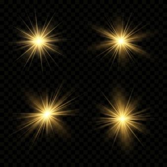 Effetto luce bagliore. la stella è esplosa di scintillii.