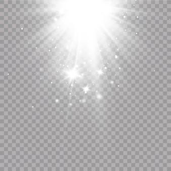 Effetto luce bagliore. illustrazione vettoriale. flash di natale. polvere, neve che cade. decorazione.