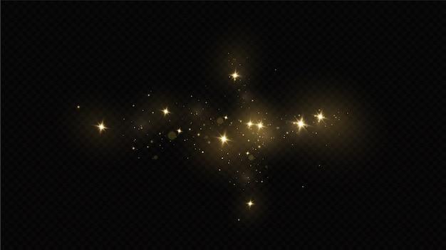 Effetto luce bagliore. il vettore brilla. particelle di polvere magiche scintillanti. le scintille di polvere e le stelle dorate brillano di luce speciale.