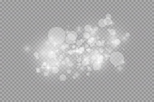 Effetto luce bagliore. scintille bianche e scintillio speciale effetto luce. scintillanti particelle di polvere magica.