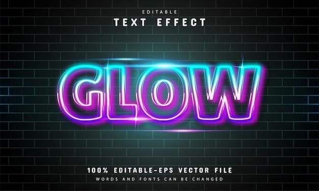 Stile neon effetto testo bagliore