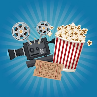 Bagliore con film di biglietti e secchio per popcorn e proiettore per film