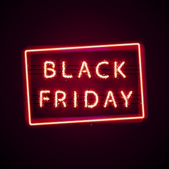 Glowing black friday con glitter Vettore Premium